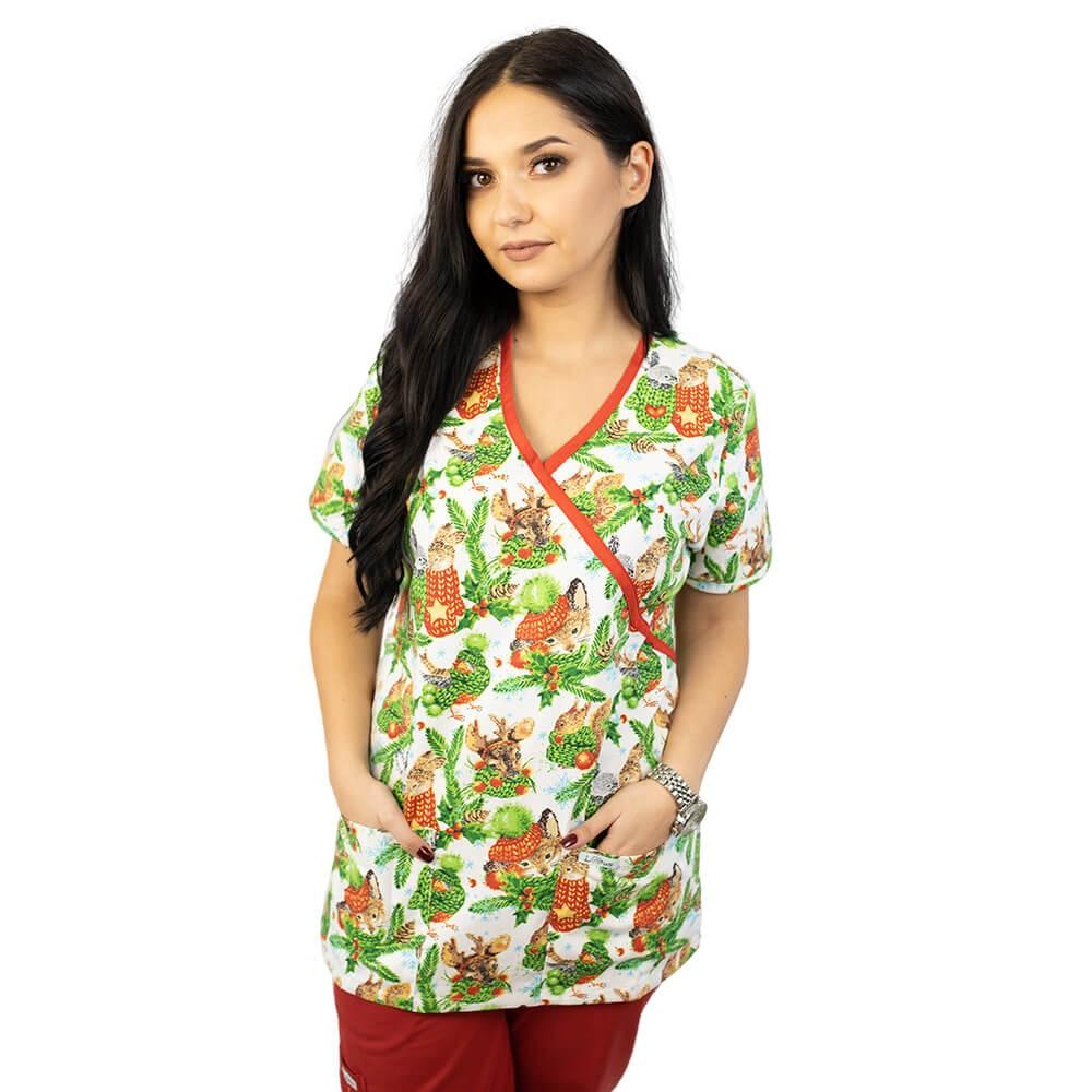 Bluza medicala imprimata Lotus 1, editie speciala de Craciun, Christmas Jungle