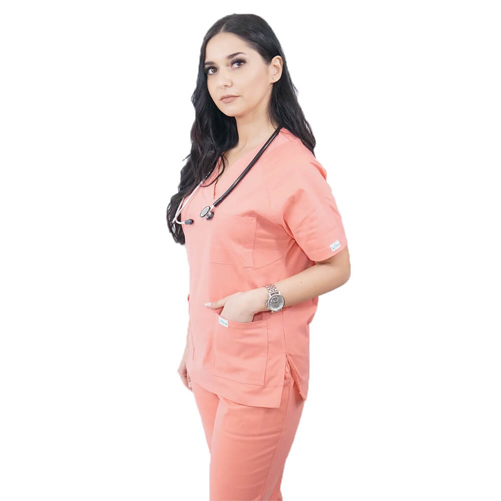 Costum medical Lotus 3, Basic 2, unisex, roz somon