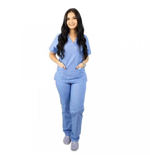 Costum medical Lotus 4, unisex, albastru ciel