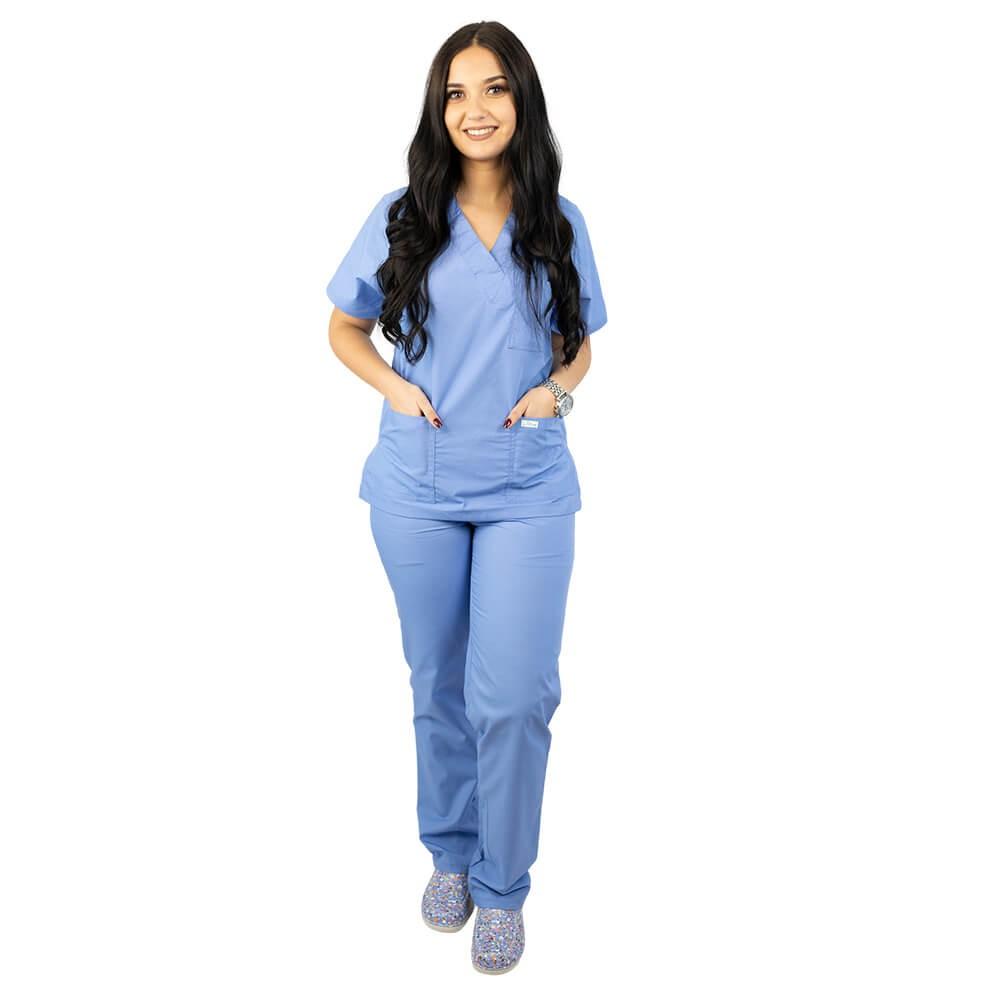 Costum medical unisex Lotus 4, Basic 2, albastru ciel