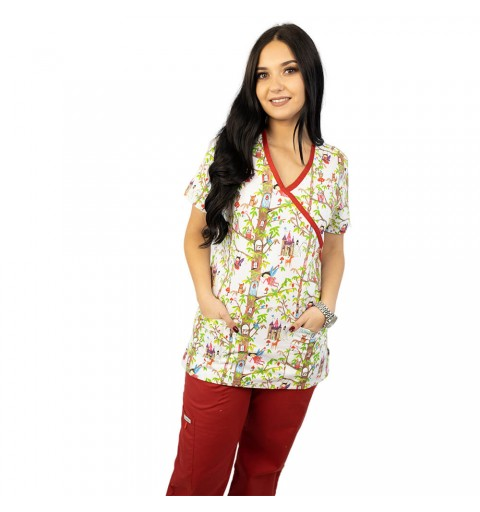 Bluza medicala imprimata Lotus, Fairytale