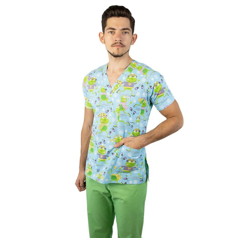 Bluza medicala imprimata Lotus 2, cu buzunar, Flurry Frog