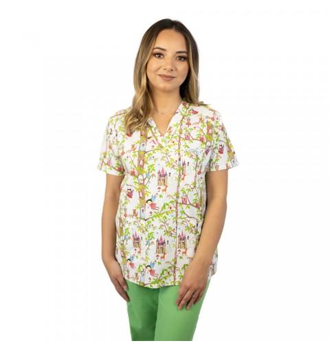 Bluza medicala imprimata Lotus 1, cu buzunar, Fairytale