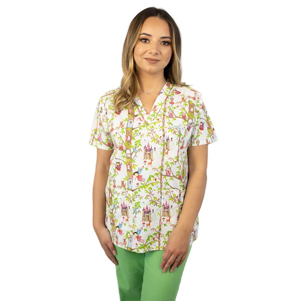 Bluza medicala imprimata Lotus 2, cu buzunar, Fairytale