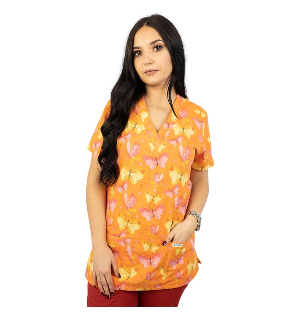 Bluza medicala imprimata Lotus 1, Orange Butterfly