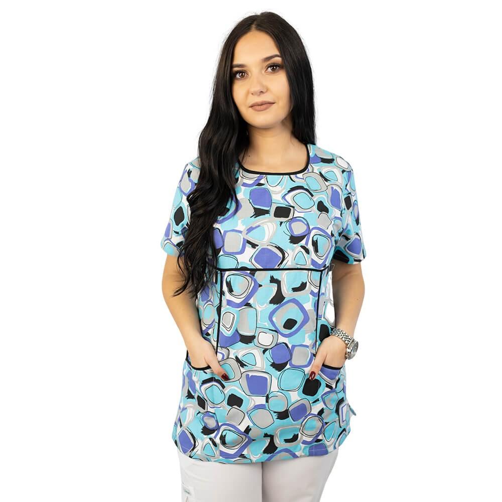 Bluza medicala imprimata Lotus 2, Geometry Style