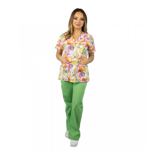 Bluza medicala imprimata Lotus, Pastel