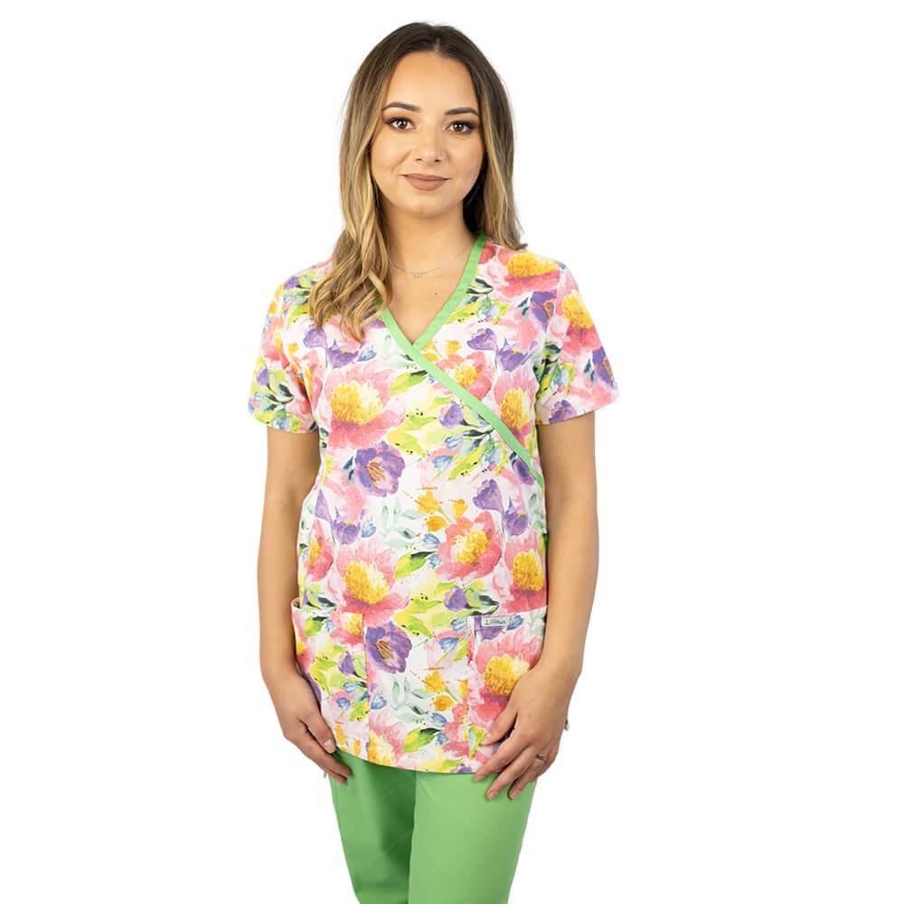 Bluza medicala imprimata Lotus 2, Pastel