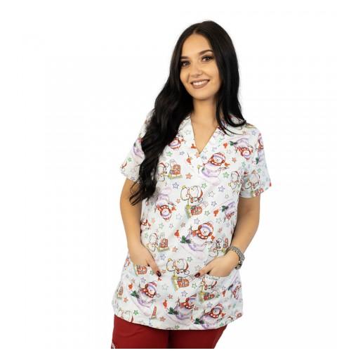 Bluza medicala imprimata Lotus, White Christmas
