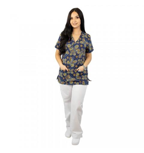 Bluza medicala imprimata Lotus 1, Tribal Butterfly