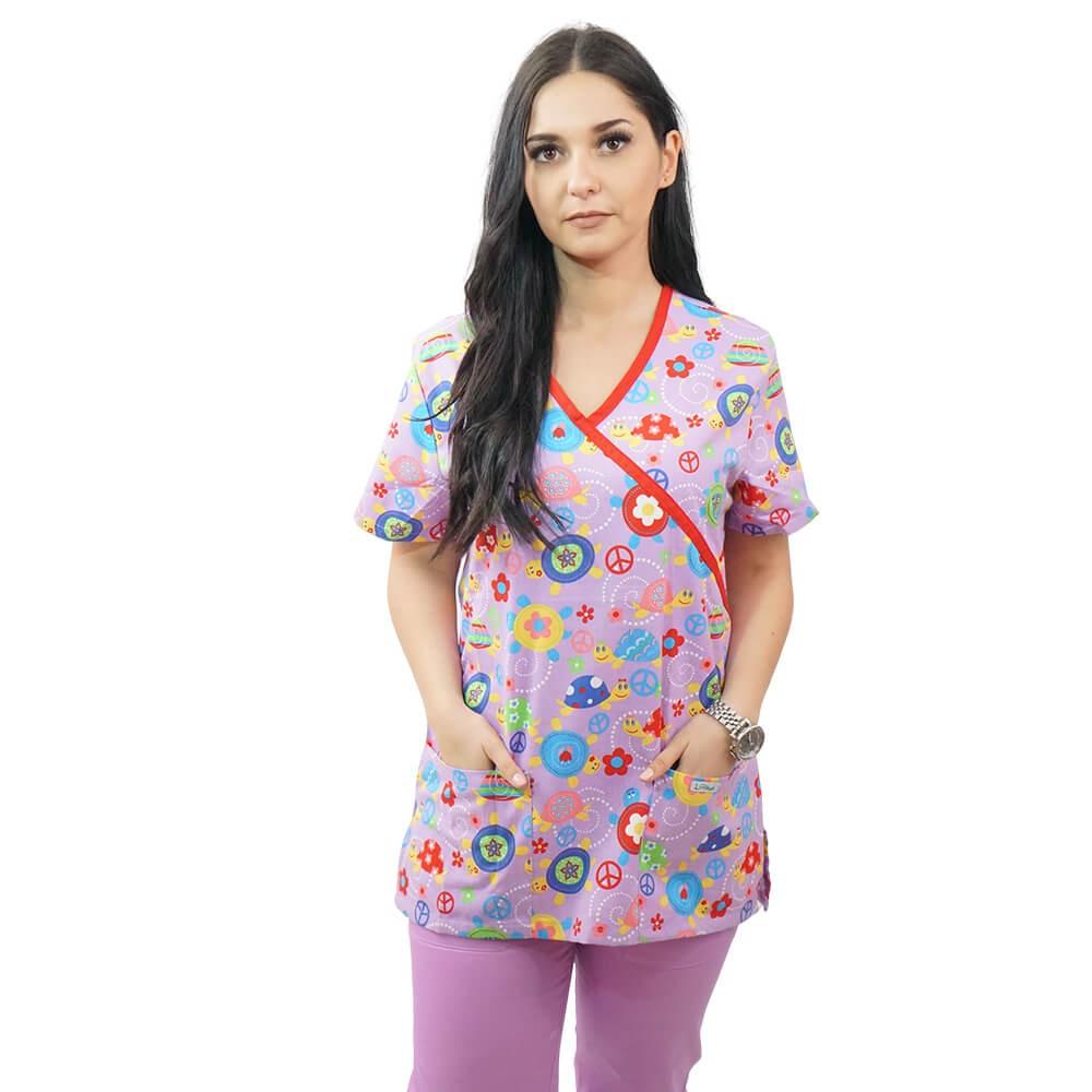 Bluza medicala imprimata Lotus 2, Pink Turtle