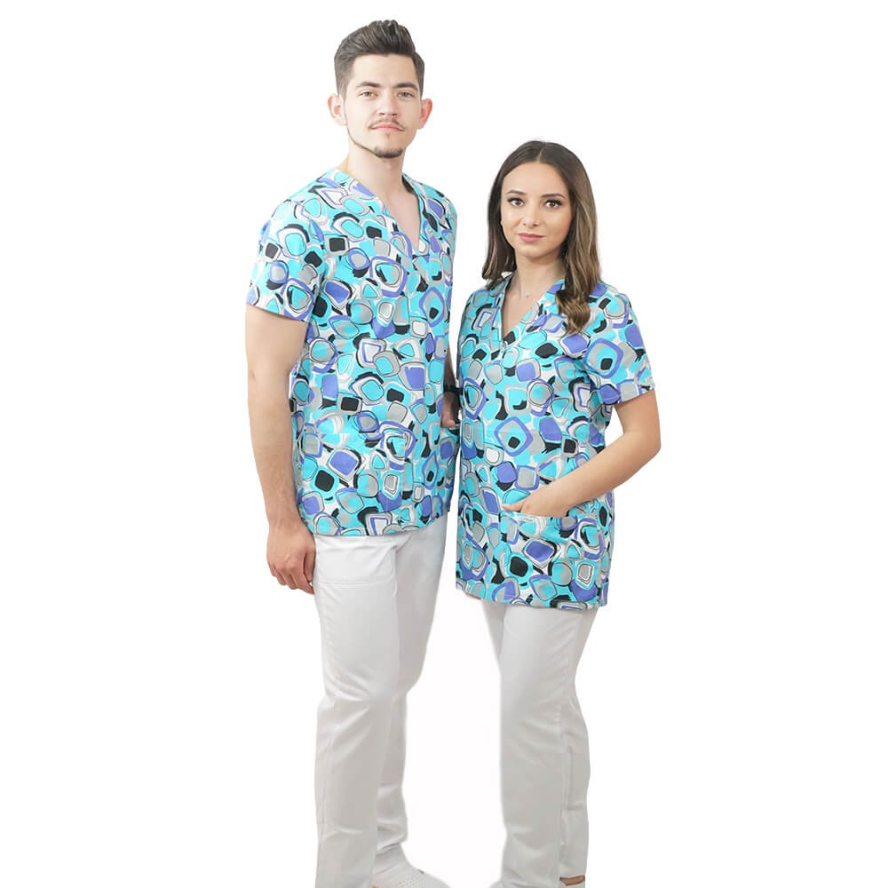 Bluza medicala imprimata Lotus 2, Geometry Fun
