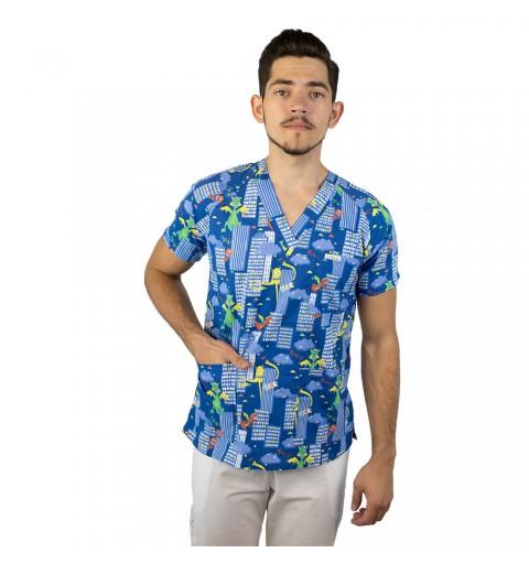 Bluza medicala imprimata Lotus, cu buzunar, Dino City