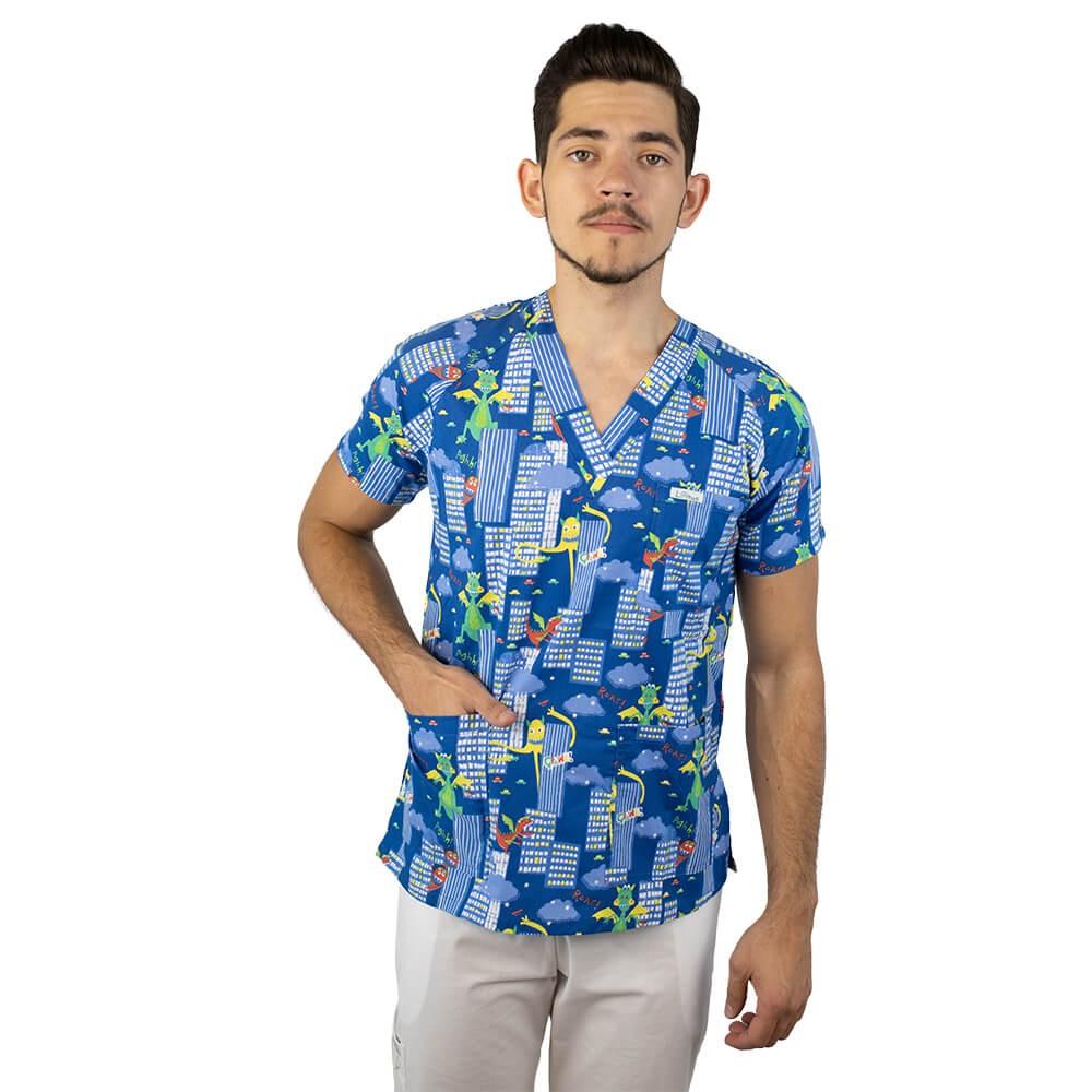 Bluza medicala imprimata Lotus 2, cu buzunar, Dino City