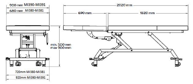 MI380 Dimensiuni masa